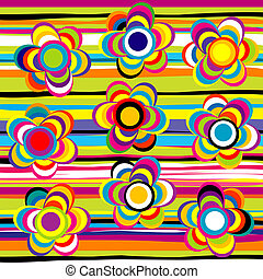 Flowers and stripes background