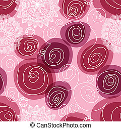 Flowers and swirls seamless pattern