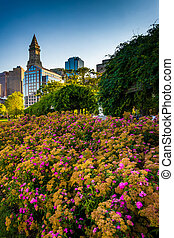 Flowers and the Custom House Tower in Boston, Massachusetts.