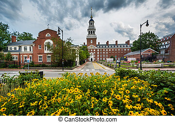 Flowers and the Lowell House, at Harvard University, in Cambridge, Massachusetts.