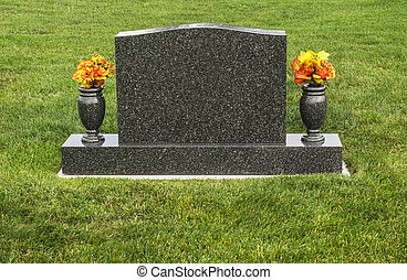 Flowers and Tombstone - A headstone that is blank and can be...
