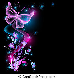 Flowers and transparent butterfly - Flowers, stars and...