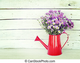 flowers and watering can old retro vintage style