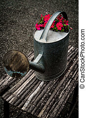 Flowers Antique Watering Can