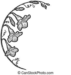 flowers arc, campanula. Sketch scratch board imitation coloring. Engraving vector illustration coloring