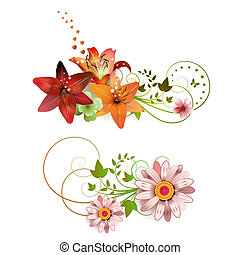 Flowers arrangement and butterflies, lilies of different ...