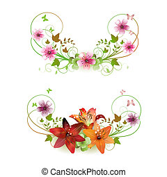 Flowers arrangement and butterflies, lilies of different colors
