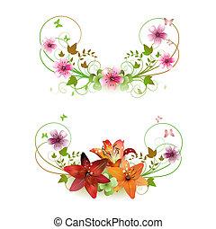 Flowers arrangement and butterflies, lilies of different...