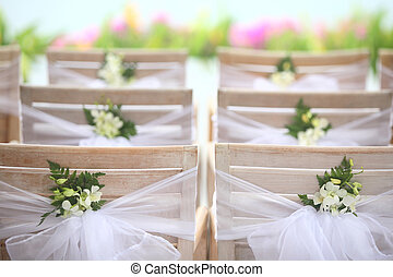 outdoor wedding - Flowers at an outdoor wedding venue.