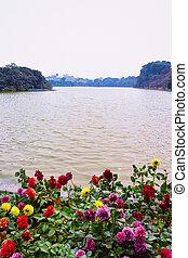 Flowers at Hoan Kiem Sword Lake in Hanoi