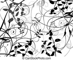 Flowers background in black