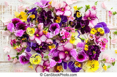 Flowers - Background of fresh multicolored flowers