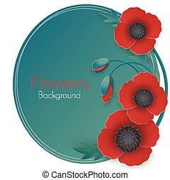 Flowers background with full blown and still blooming red...