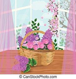 Flowers basket Vector illustration