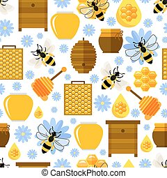 Flowers, bees and honey seamless background