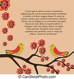 flowers, birds and text