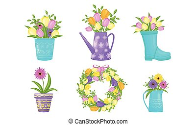 Flowers Blossoming in Boot and Watering Can Vector Set