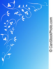 Flowers blue background