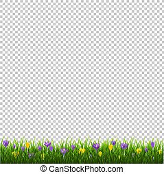 Flowers Border With Grass Transparent Background