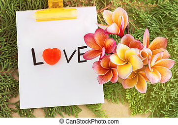 Flowers bouque with text love on green pine leaf background