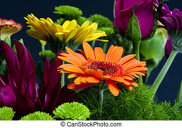 flowers bouquet, daisies and gerber