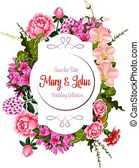Flowers bouquet for wedding vector greeting card