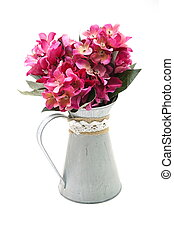 Flowers Bouquet in metal vase isolated on white background