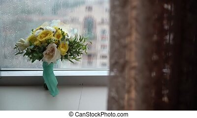Flowers bouquet indoors - Flowers bouquet with white and...