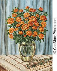 Flowers, bouquet of trollies