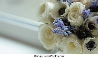 Flowers bouquet with white roses