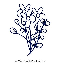 flowers branches leaves decoration cartoon isolated icon design line style