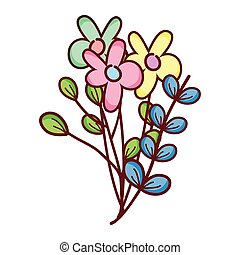 flowers branches leaves decoration cartoon isolated icon design