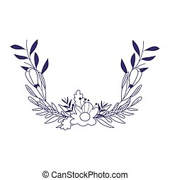 flowers branches leaves foliage nature decoration isolated icon line style