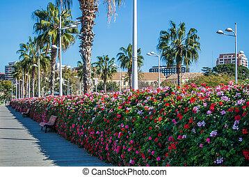 Flowers bridge (Puente de las flores), a modern bridge with a plenty of flower pots full of flowers on both sides of it, Valencia, Spain.