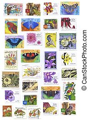Flowers, butterfly and birds Stamps