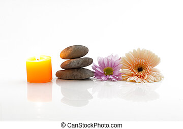 Flowers, candle, stones - spa theme