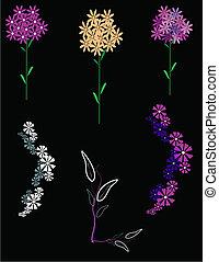 flowers clip art on black
