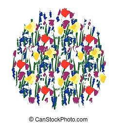 Flowers color round isolate on white.