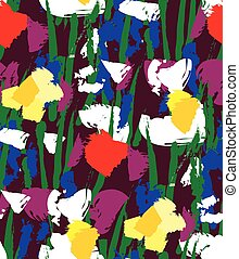 Flowers color seamless pattern wallpaper.