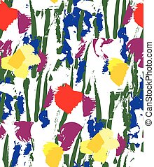 Flowers color seamless pattern wallpaper on white.