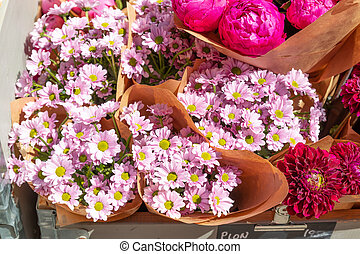 Beautiful bouquets of flowers on the market.