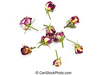 Flowers composition. Frame made of dried rose flowers. Flat lay, top view.