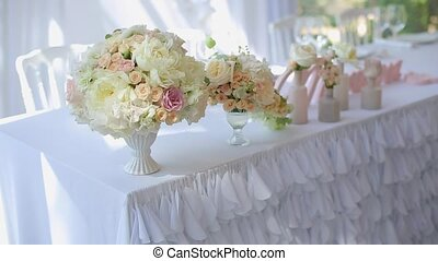 Flowers compositions on table