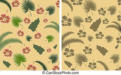 flowers., composizione, rosso, riscaldare, tempo, foglie, tropicale