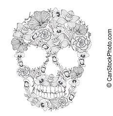 flowers., czaszka