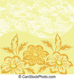 Flowers dahlia and abstract pattern - Floral pattern,...