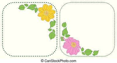 flowers dahlia in corners of rounded green frames - vector...