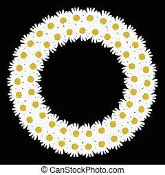 Flowers daisy shape circle frame