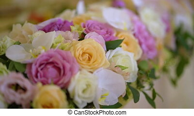 Flowers decorated table for wedding or party