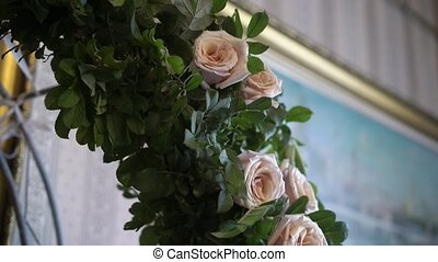 Flowers decoration at wedding ceremony indoors